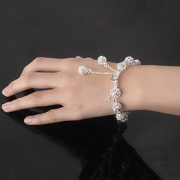 Wholesale Sterling Silver Ball Link Chain - 2017 Brand New Fashion Hollow Balls Bracelets 925 Sterling Silver Jewelry Women Party Nice Hand Chain Bracelet 10Pcs Lot Free Shipping