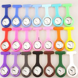 Wholesale Wholesale Medical Pins - Brand New Nurse Medical Watch brooch silicone Clip Pocket Watches With Pin waterproof multi colors quartz watches for doctors nurses
