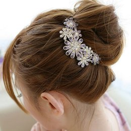Wholesale Colorful Crystal Comb - Amader Korean Fashion Headwear Colorful Crystal Flower Hair Combs Hair Clips For Women Hair Accessories Wedding Bridals Jewelry