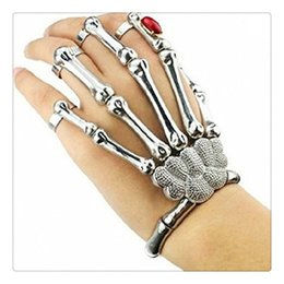 Wholesale Hand Ring Set - Hot Finger Nail Rings Knuckle Ring Silver Cool Punk Bracelet Jewelry With Gemstone Hipa Skeleton Hand Bone Talon Claw Skull Bracelet Cuff