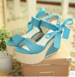 Wholesale Japanese Platforms Shoes - Korean version Japanese summer new slope with sandals female sweet ribbon princess ladies waterproof platform high-heeled shoes