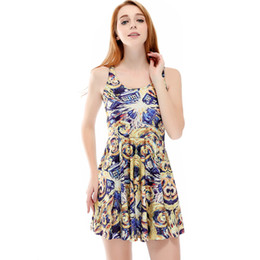 Wholesale Cheap Xxl Dresses - Wholesale- Cheap Clothes China New Summer Digital Printing Retro Floral Pleated Umbrella Dress For Women
