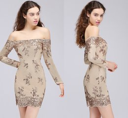 Wholesale Women T Shirt Lace - Sexy Off-Shoulder Light Champagne Short Cocktail Dresses With Long Sleeves Sequined Above Knee Sheath Formal Dresses For Women Free Shipping