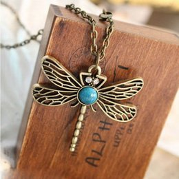 Wholesale Dragonfly Pendants Wholesale - Wholesale- YouMap Jewelry Accessories Fashion European And American Style Retro Dragonfly Pendant Necklace Y5R1