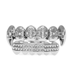 Wholesale Shiny Gift Set - Hot Selling 18K Shiny Plated Rhodium Inlay CZ Rhinestone Hip-Hop Teeth Trendy GRILLZ Top & Bottom Grill Set Vampire Teeth Party Gift