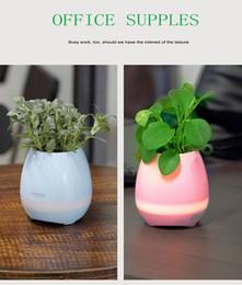 Wholesale Green Button Usb - Smart sensor Bluetoth Touch music Flowerpot Green plant pots colorful light creative music pots(without plants)
