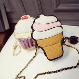 Wholesale Cupcakes Icing - Wholesale- Cute Cartoon Women Ice cream Cupcake Mini Bags PU Leather Small Chain Clutch Crossbody Girl Shoulder Messenger bag