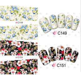 Wholesale Nail Tip Wrap - 50 Sheets Flower Design Watermark Beauty Nail Art Tips Sticker Full Wraps Water Transfer Stickers Decals For Nails
