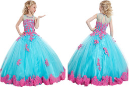 Wholesale Cheapest Kids Party Dresses - Blue Pink Cheapest Flower Girl Dresses Appliques Beads Little Girls Pageant Kids Party Ball Gowns Princess Children Birthday Junior Bride