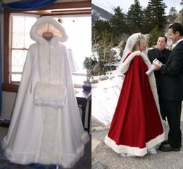 Wholesale Cape Fur Trim Cheap - 2017 Bridal Cape With Hood Wedding Cloaks with Faux Fur Trim For Winter Long Wraps Jacket Cheap Custom Red White Bridal Fur Coat Women