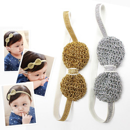 Wholesale Baby Headbands Stretch Elastic - Fall Wire Inside Baby Stretch Headband Solid Crochet Hair Bow Baby Hairband Fashion Cute Princess Gold Silver Adjustable Elastic Headbands