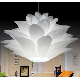 Wholesale Lotus Ceiling Lamp - Wholesale- DIY Lily Lotus IQ Puzzle Pendant Lampshade Cafe Restaurant Ceiling Room Decoration LED Hanging Lamp