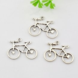 Wholesale Bicycle Side - Hot ! 150PC Antique silver Zinc Alloy Single-sided Bicycle Charm Pendants 31x29mm DIY Jewelry A-001