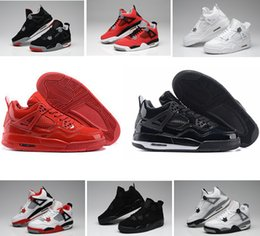 Wholesale Shoes Military For Men - Cheap air retro 4 Pure Money Royalty White Cement Bred Military Blue Fire Red Premium Black mens boys basketball shoes sneakers for sale