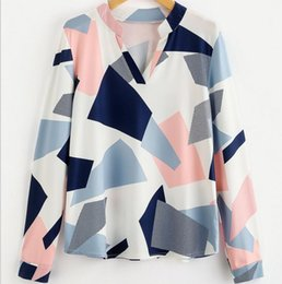 Wholesale Long Sleeve Casual Blouse Patterns - Womens Floral Printed V-Neck Long Sleeves Geometric Pattern Blouses Casual Tops   S-XL   Wholesale Cheap DHL Fast Shipping