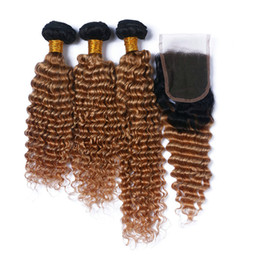 Wholesale Two Toned Curly Hair - Dark Roots Honey Blonde Ombre Lace Closure With Bundles Two Tone 1B 27 Deep Wave Curly Peruvian Virgin Human Hair Extensions With Closure