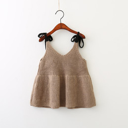 Wholesale Vintage Western Clothing - Everweekend Girls Knitted Bow Sweater Halter Tops Candy Color Western Fashion Clothing Vintage Korea Lovely Children Blouse