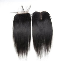 Wholesale Cheap Lace Part - Wholesale Cosy 4x4 Swiss Free Middle Part Lace Closure Straight Body Wave Cheap Lace Closure Bundles with Baby Hair Natural Color