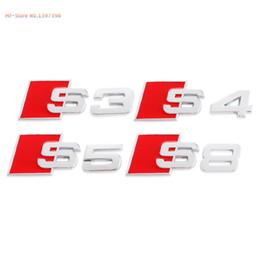 Wholesale S Line Logo Badge - 3D Aluminum Alloy S3 S4 S5 S8 S Line Car Tail Sticker Emblem Badge Logo Metal Rear Tail Badge Sticker Logo For Audi Car Emblem