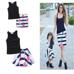 Wholesale New Mother Flowers - ins summer Mother and child outfit Vest coat + Striped flower skirt two piece suit 2017 new Mother and child outfit
