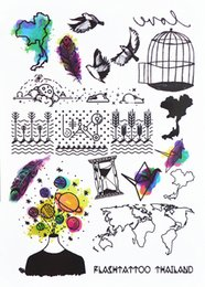 Wholesale Buy Paper Wholesale - Wholesale- #394 New Trend Temporary Body Tattoo Unisex World Map BirdCage Paper Crane Hipster Must Buy Tattoo Stickers