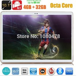 Wholesale Tablet Pc 4g Lte - Wholesale- 10 inch tablet pc 4G LTE Octa Core 3G WCDMA Android 5.1 4GB RAM 32GB ROM IPS GPS wifi 5.0MP 10.1 MID Phablet DHL Free