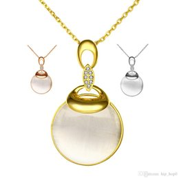 Wholesale Opal Inlay Necklace - 2016 New Fashion Platinum & Rose Gold 18k Gold Plated Round Opal Stone Pendant Necklace Inlaid Zirconia Jewelry Women Beautiful Accessories