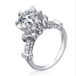 Wholesale Crown Cut Diamond - Size5-11 New Arrival Fashion Jewelry 925 Sterling Silver Round Cut White Topaz CZ Diamond Wedding Engagement Women Crown Ring For Lover Gift