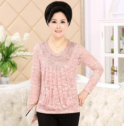 Wholesale Long Sleeved T Shirts Ladies - 2016 Spring Summer Middle Age Women'S Lace Long Sleeved T-Shirt Mother Plus Large Size Mother Slim Tops Lady Clothing Pullovers