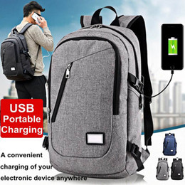 Wholesale 17 Laptop Backpack - 2017 Fashion Water Resistant 17 Inch Laptop Backpack with USB Charging Port Campus College Student School Bag Unisex for travel backpack