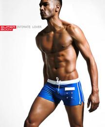 Wholesale Gauze Swimwear - superbody Mens Swimwear Male SPA Shorts Mans Swimsuit Double Layer Inner Gauze striped swimming trunks 1518-ST