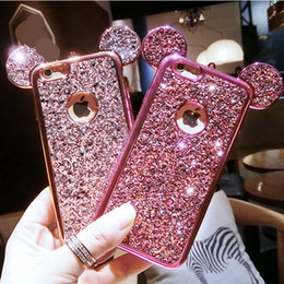 Wholesale Cover For Iphone Mouse - for iphone 6 6s 7 8 plus Luxury Cute Glitter Mouse ear glitter Soft phone case cover