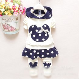 Wholesale Cotton Tops For Girls - Wholesale- dot girls clothing set 2pcs suits Baby Kids clothes long Sleeve Tops + pantskirt Children Outfits Girl dress for age 0-4Years