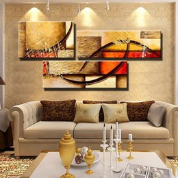 Wholesale Cheap Canvas Paintings - free shipping 3 Panel Canvas Art textured cheap Hand Painted Abstract Oil Painting yellow modular Wall Pictures For Living Room Unframed