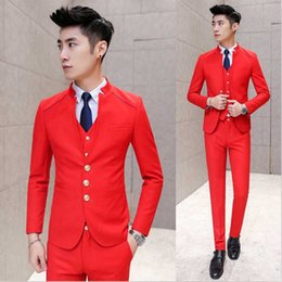 Wholesale Korea Style Hot Pants - Wholesale- New Fashion Hot Brand 2016 men's casual high quality wedding suits male slim korea style standing collar blazer vest and pants