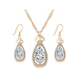 Wholesale Gold Costume Chain Set - 18K Gold Plated Clear Crystal Cluster Multicolor Stone Teardrop Dangle Earrings Chain Necklace Party Costume Jewelry Sets Gift