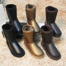 Wholesale Natures Shoes - Wholesale-Free shipping! Classic Nature fur Wool real sheepskin leather snow boots for women winter shoes High Quality