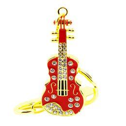 Wholesale Diamond Guitar - HanDisk Princess Guitar Metal Diamond Flash Drive 128MB 1 2 4 16 32 64 128gb Usb Pen Drive Portable Hard Drive Memory stick EU050