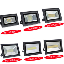 Wholesale Led Street Projector Lights - Wholesale-Waterproof LED Flood Light 200W 150W 100W 60W 30W 15W Reflector Floodlight Spotlight Street Outdoor Wall Lamp Garden Projectors