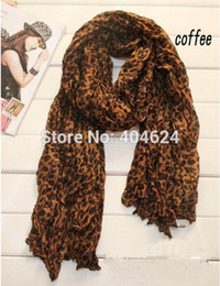 Wholesale ladies leopard print scarf - Wholesale- Fashion Design Popular Lady Cotton Sexy Leopard Print Coffee Oversized Women Long Leopard Scarf Scarves High Quality For You!