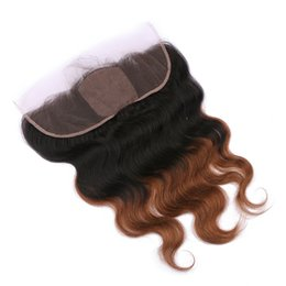 Wholesale ombre silk base closure - Brazilian Virgin Ombre Medium Auburn 1B 30 Dark Root Human Hair Silk Base 13x4 Lace Frontal Closure With Baby Hair 2Tone Body Wave