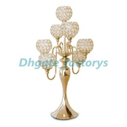 Wholesale Candelabra Style Wedding - Factory Sales four-Style GOLD SILVER Tall Crystal Candelabra Glass Ball large Wedding Centerpiece BEST QUALITY FAST SHIPPING