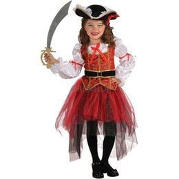 Wholesale Pirate Costume Design - Halloween Cute Pirate Costume Dance Performance Suit For kids Girl Red Lace Design Princess Girls' Cosplay Dress