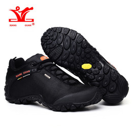 Wholesale Boots Waterproof For Men - Man Waterproof Hiking Shoes for Men Athletic Trekking Boots Black Zapatillas Sports Climbing Shoe Breathable Outdoor Walking Sneakers 2017
