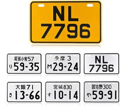 Wholesale Number Plate Stickers - Wholesale- foreign japanese license plates motorcycle iron painting wall sticker SCOOTER japan bicycle number plates metal DECORATION