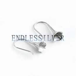Wholesale Earring Blanks Silver - Fishhook Earring Settings Blank Base for Round Pearls 925 Sterling Silver Jewellery Findings for Pearl Party