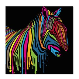 Wholesale Rainbow Spray Paint - Rainbow Zebra Poster Canvas Printing Animal Picture Printed Canvas Art Decor Fashion Canvas Artwork