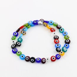 Wholesale Evil Eye Glass Bead - All Size Evil Eye Beads Flat Round Mixed Color Glass Beads 6 8 10 12mm Multicoloured Ojo Evil Eye Colourful