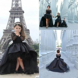 Wholesale Unique Custom - 2017 Unique Design Girl's Pageant Dresses Long Sleeves High Low Modest Black Satin Arabic Flower Girl Dress For Wedding Party Christmas