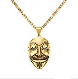 Wholesale Vendetta Gold - Mens Necklaces Stainless Steel V For Vendetta Mask Pendant Necklace Gold Tone Fashion Jewelry For Women or Men Collier PN-707